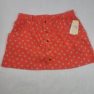 Gianni Bini Girls mango polkadot gold button skirt
